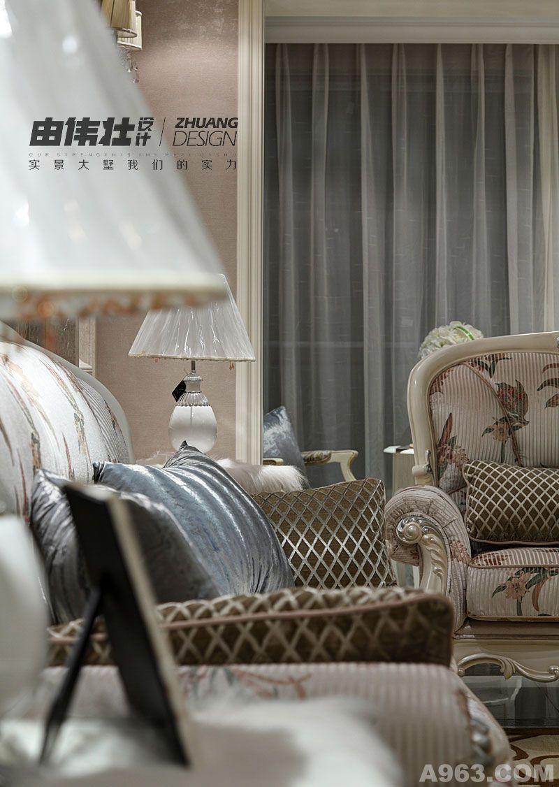 (样板间)公寓 项目风格:欧式风 主要材料:仿大理石砖,橡木地板,墙纸