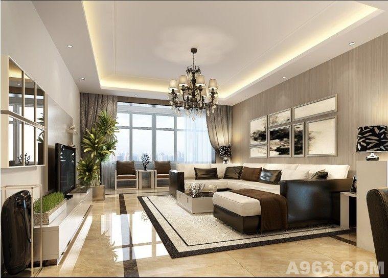 客厅里设计师本着轻装修重装饰的原则,并没有设计太多复杂的造型,简单