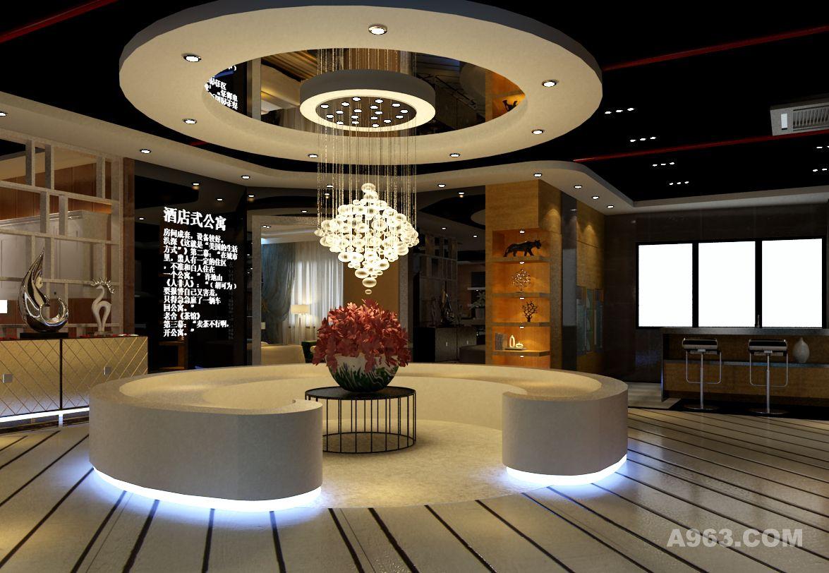 展厅设计格局包含橱柜展示区,酒店式公寓样板间,板式衣柜展示区,产品