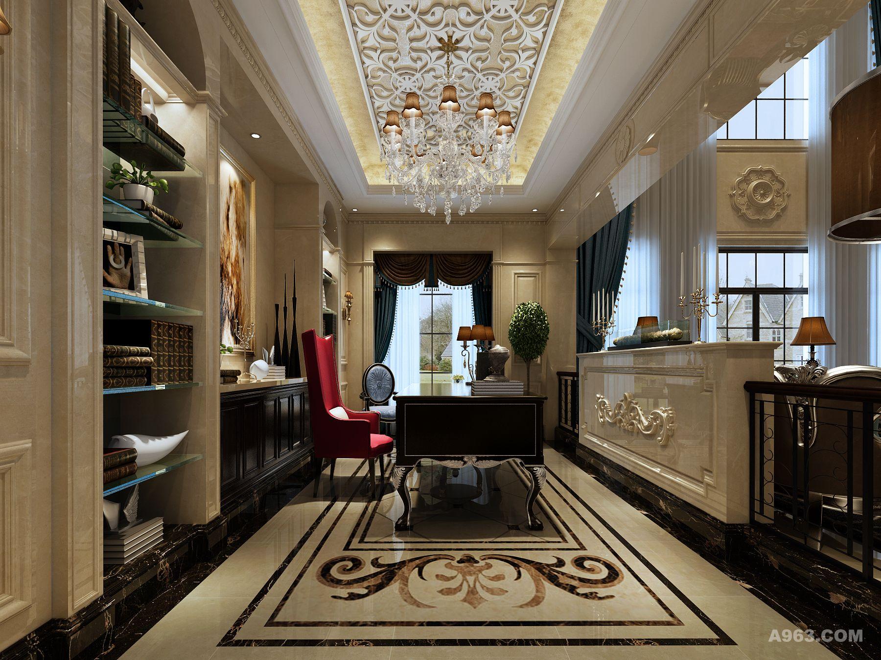 主要装饰材料:白玉兰,黑金花大理石装饰面,马赛克艺术剪画点缀.