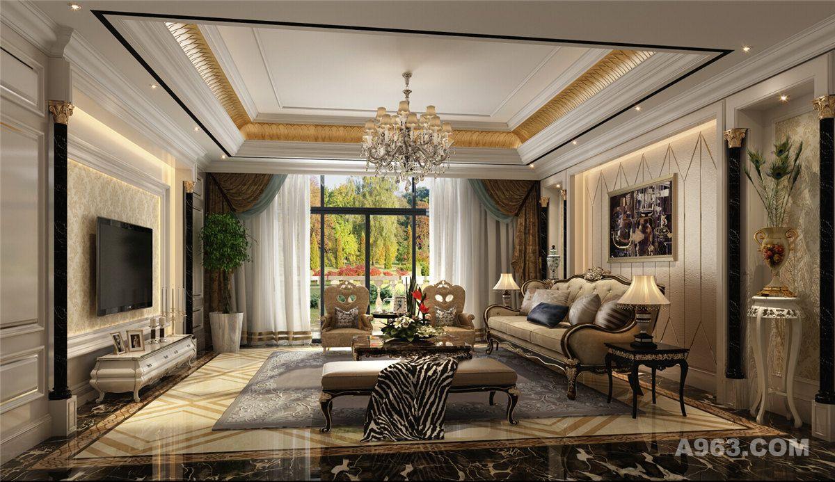 中海紫御豪庭大户型装修奢华欧式风