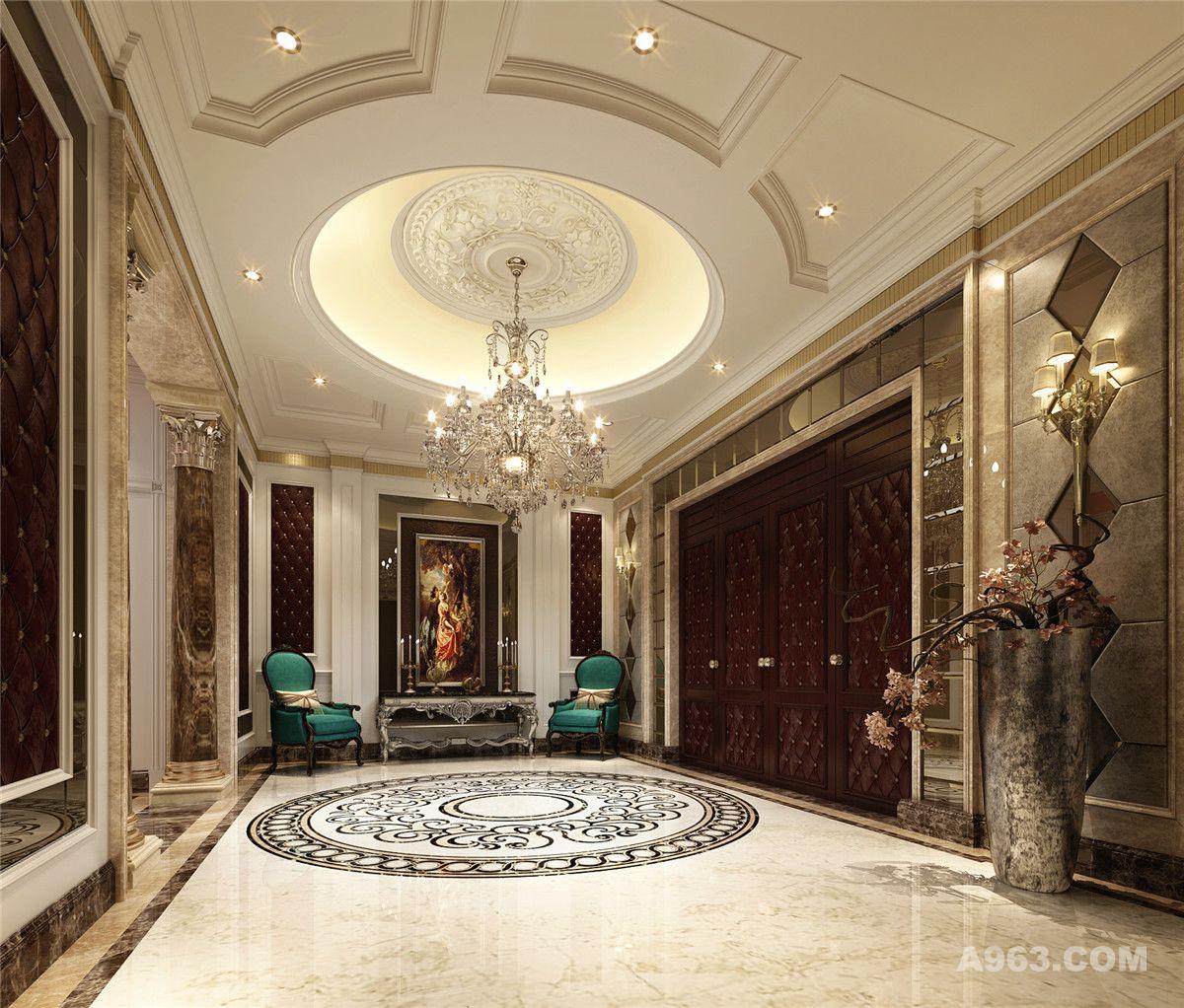 伊顿别墅会所装修设计欧式古典风格设计方案,腾龙别墅设计师刘真桢