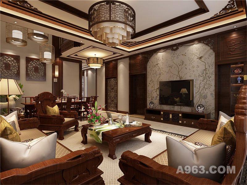 崇明岛华贸东滩别墅装修中式风格设计方案!图片