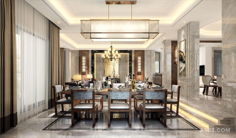 世茂湖滨花园别墅装修新中式风格设计方案展示,腾龙别墅设计师任云龙