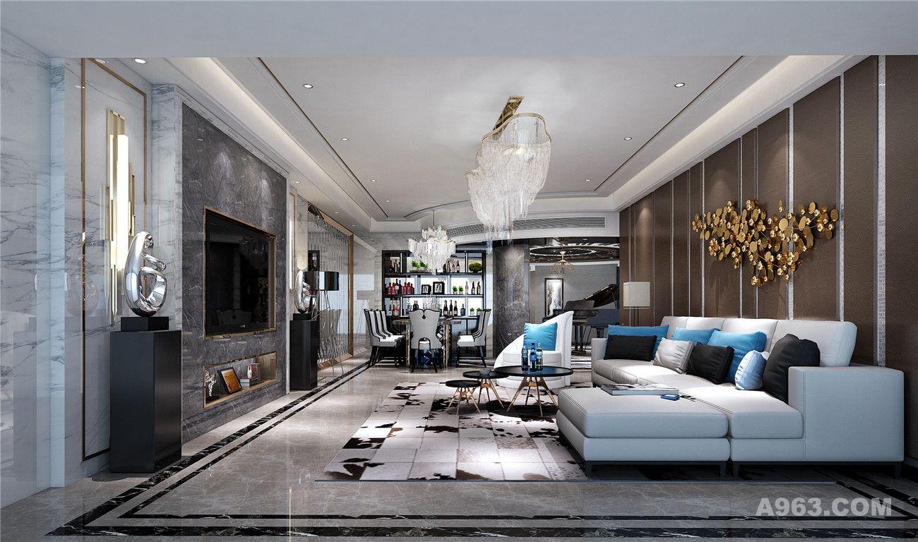 世茂滨江花园220平大平层装修新古典欧式风格设计方案展示,上海腾龙