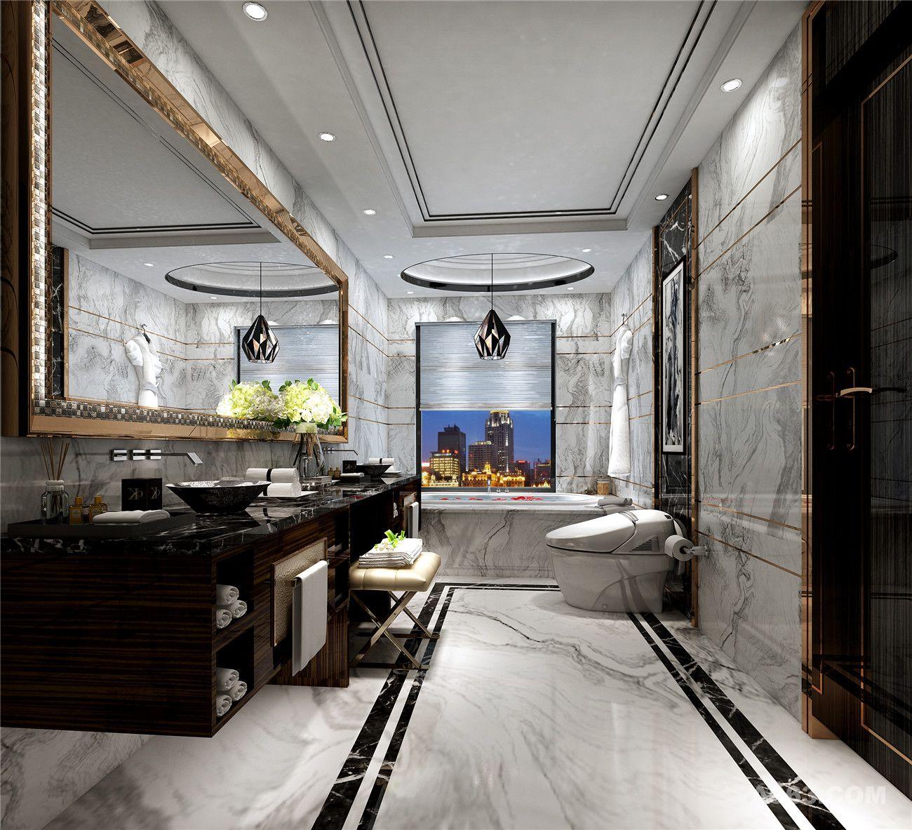 世茂滨江花园220平大平层装修新古典欧式风格设计方案展示,上海腾龙别
