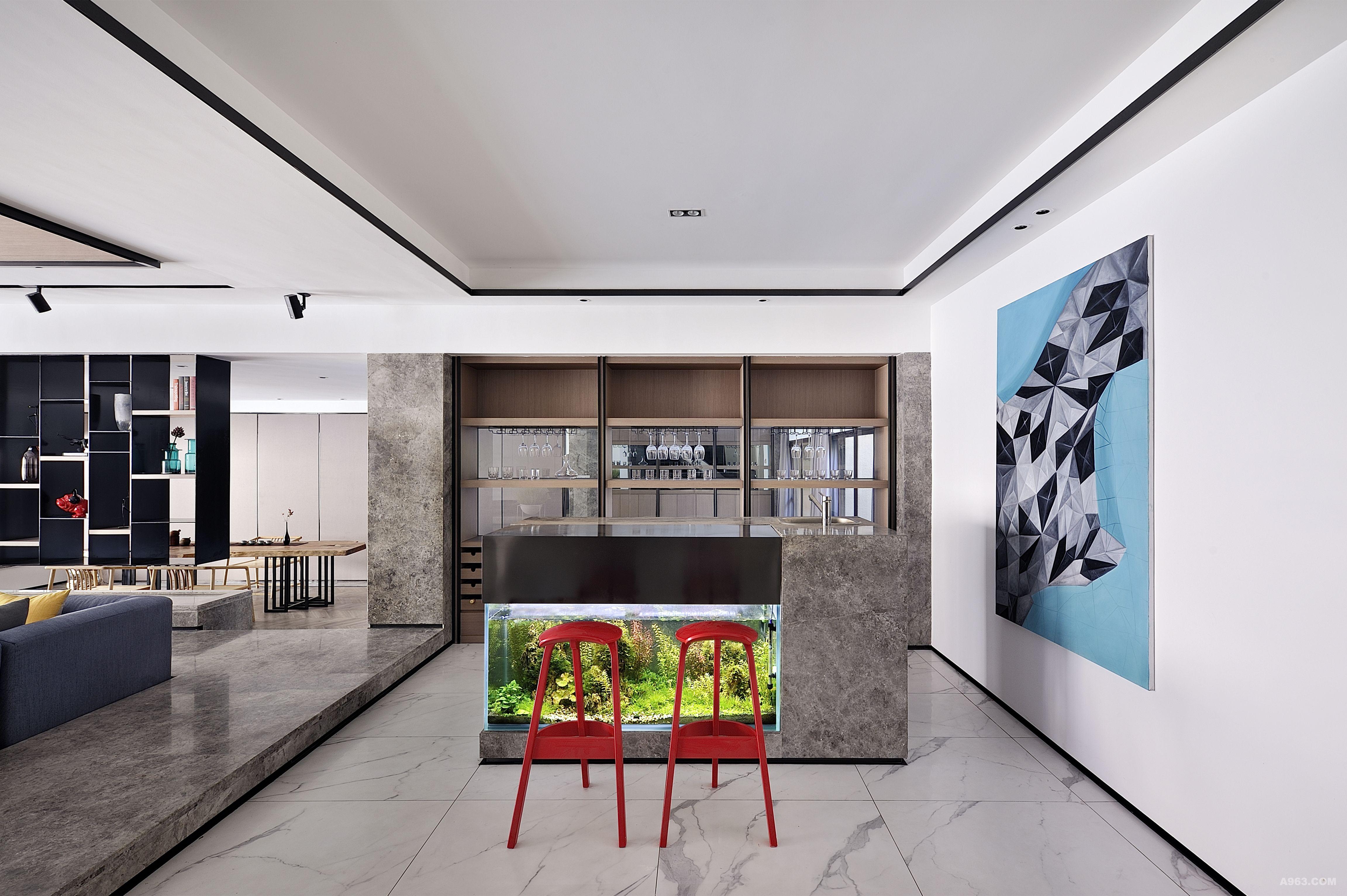 新中式别墅水吧台