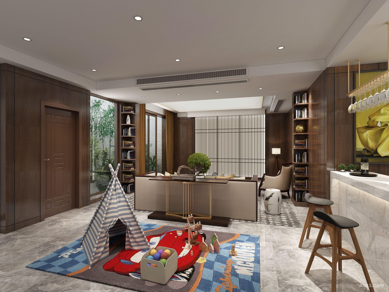 法兰西世家430㎡独栋别墅新中式风格装修设计-客厅